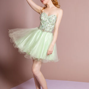 Lime Jeweled Sweetheart Party Short Dress